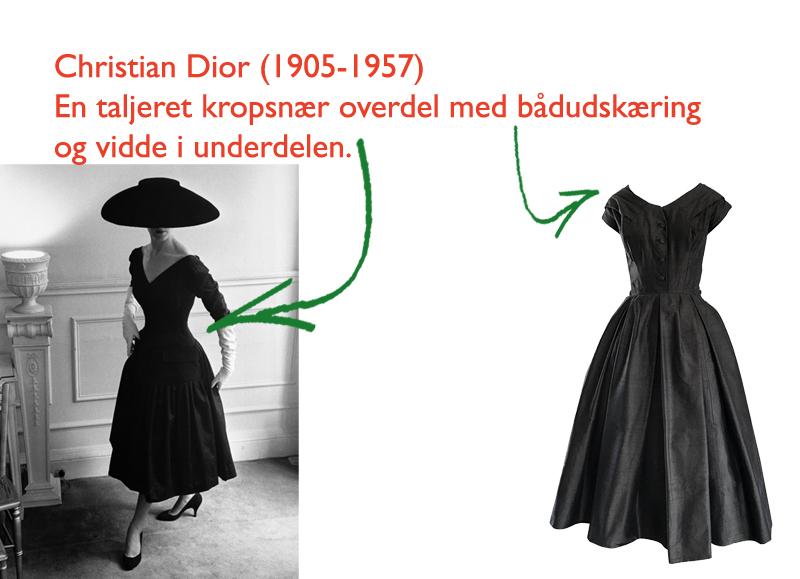 58f87c3e8ef Christian Dior skabte silhuetten her i efterkrigstidens 50'ere. Som  modreaktion på den knaphed på materialer, der herskede under krigen, kræver  skørtet ...
